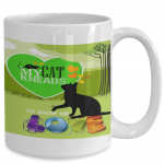 cat coffee cup green