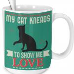 original cat kneads me green cat mug